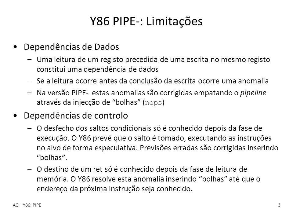 Y86 PIPE-: Limitações Dependências de Dados –Uma leitura de um registo precedida de uma escrita no mesmo registo constitui uma dependência de dados –S