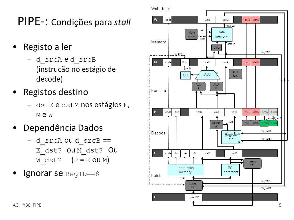 PIPE-: Condições para stall AC – Y86: PIPE5 Registo a ler –d_srcA e d_srcB (instrução no estágio de decode) Registos destino –dstE e dstM nos estágios