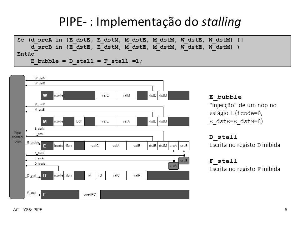 PIPE- : Implementação do stalling AC – Y86: PIPE6 Se (d_srcA in {E_dstE, E_dstM, M_dstE, M_dstM, W_dstE, W_dstM} || d_srcB in {E_dstE, E_dstM, M_dstE,