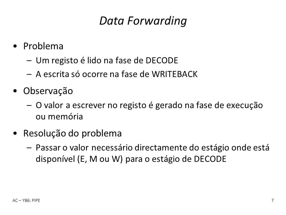 Data Forwarding Problema –Um registo é lido na fase de DECODE –A escrita só ocorre na fase de WRITEBACK Observação –O valor a escrever no registo é ge