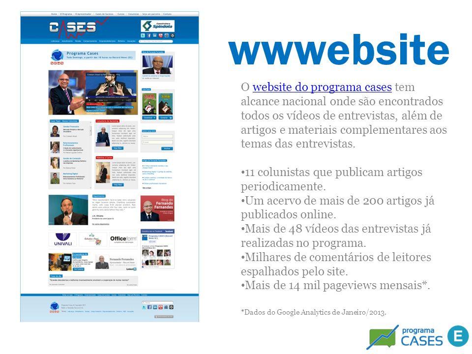 wwwebsite O website do programa cases tem alcance nacional onde são encontrados todos os vídeos de entrevistas, além de artigos e materiais complement