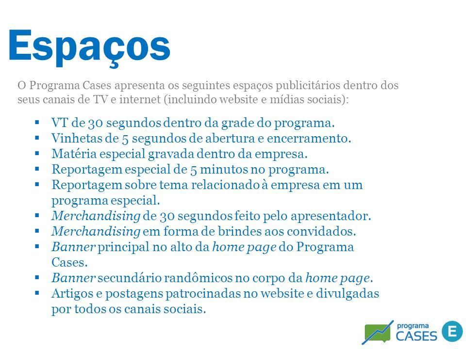 Espaços O Programa Cases apresenta os seguintes espaços publicitários dentro dos seus canais de TV e internet (incluindo website e mídias sociais): VT