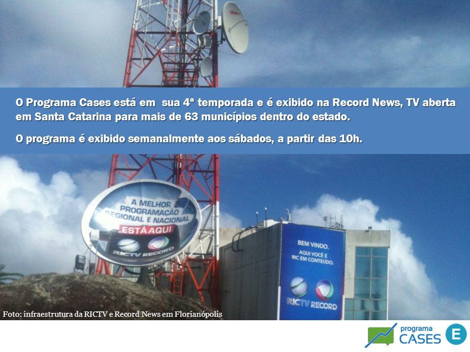 Foto: infraestrutura da RICTV e Record News em Florianópolis O Programa Cases está em sua 4ª temporada e é exibido na Record News, TV aberta em Santa