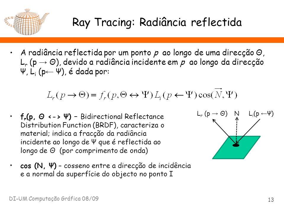 A radiância reflectida por um ponto p ao longo de uma direcção Θ, L r (p Θ), devido a radiância incidente em p ao longo da direcção Ψ, L i (p Ψ), é da