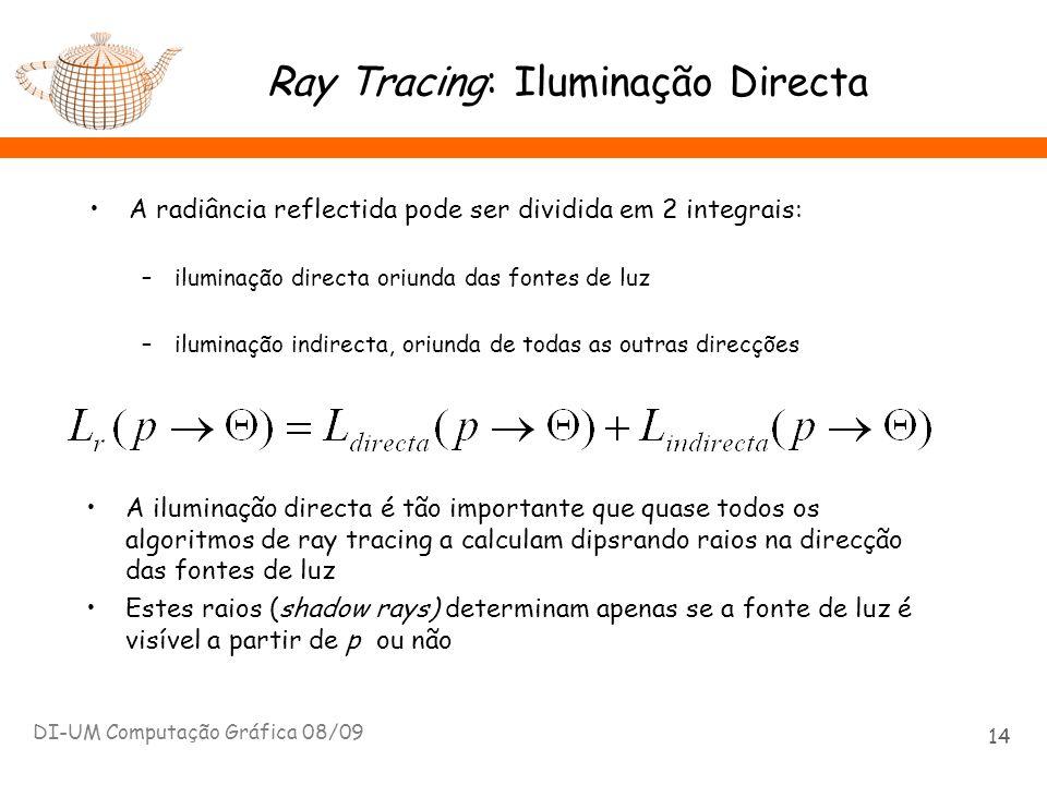 Ray Tracing: Iluminação Directa DI-UM Computação Gráfica 08/09 14 A radiância reflectida pode ser dividida em 2 integrais: –iluminação directa oriunda