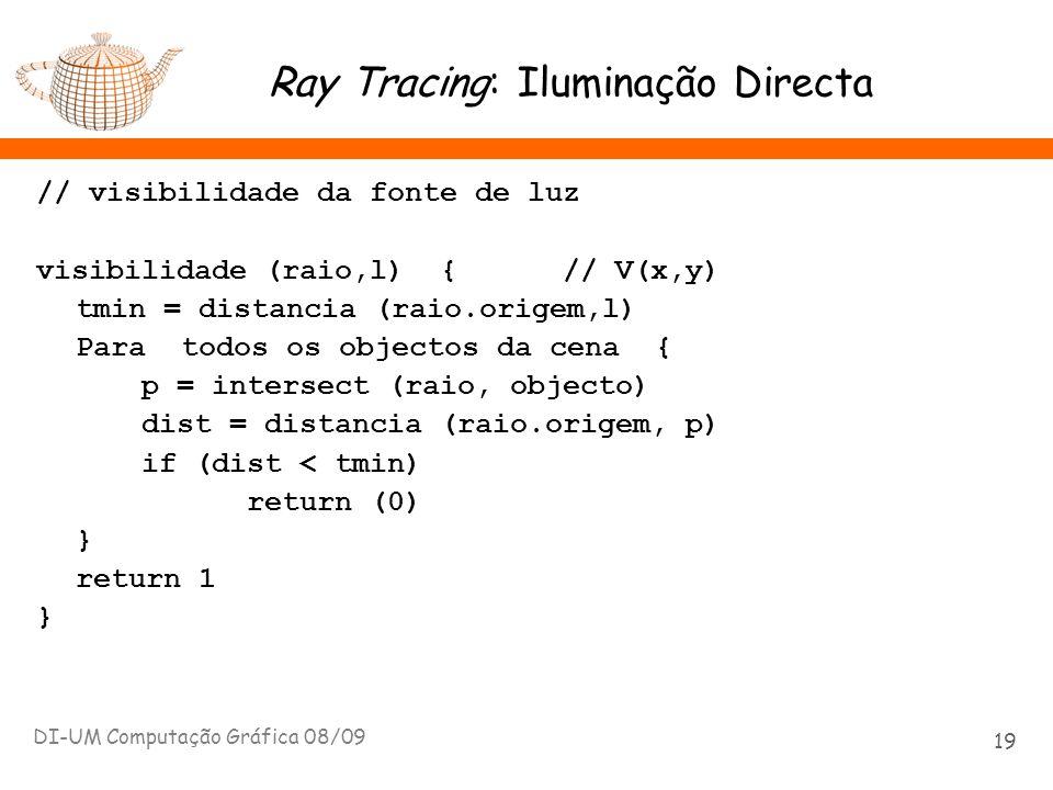 Ray Tracing: Iluminação Directa // visibilidade da fonte de luz visibilidade (raio,l) { // V(x,y) tmin = distancia (raio.origem,l) Para todos os objec