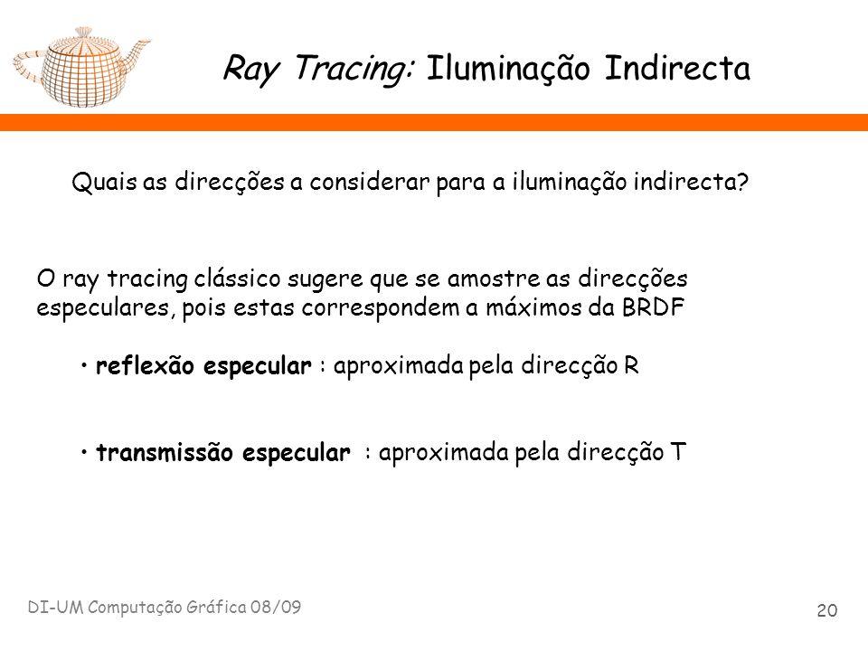 Ray Tracing: Iluminação Indirecta DI-UM Computação Gráfica 08/09 20 Quais as direcções a considerar para a iluminação indirecta? O ray tracing clássic