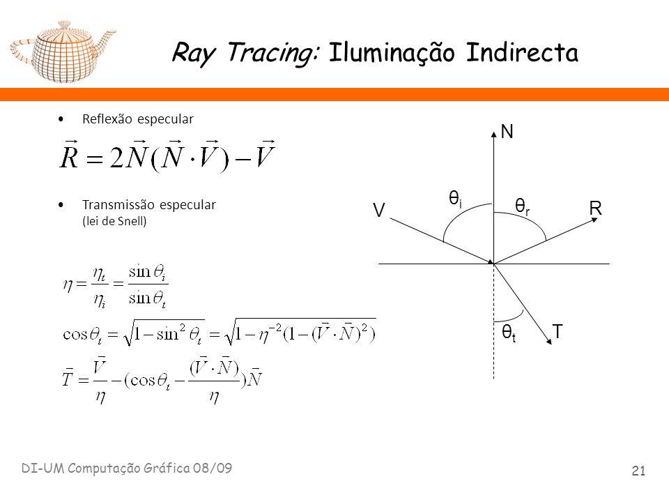 Ray Tracing: Iluminação Indirecta DI-UM Computação Gráfica 08/09 21 Reflexão especular Transmissão especular (lei de Snell) θiθi θtθt θrθr V N R T