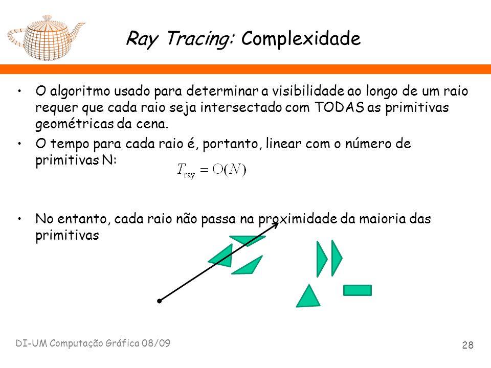 Ray Tracing: Complexidade O algoritmo usado para determinar a visibilidade ao longo de um raio requer que cada raio seja intersectado com TODAS as pri