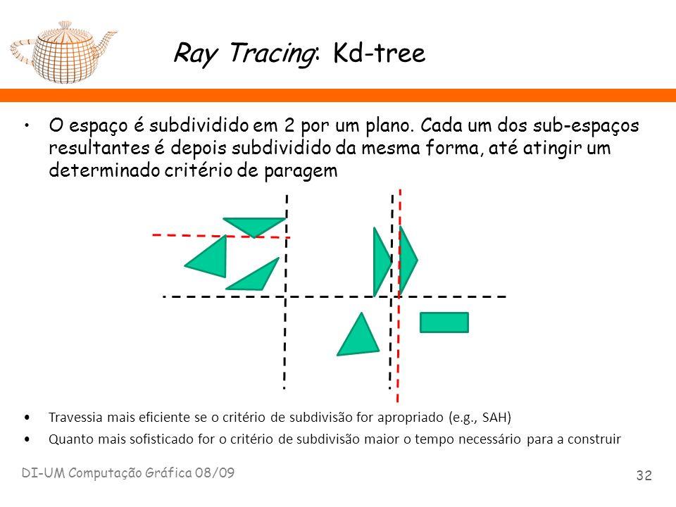 Ray Tracing: Kd-tree O espaço é subdividido em 2 por um plano. Cada um dos sub-espaços resultantes é depois subdividido da mesma forma, até atingir um