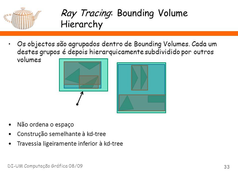 Ray Tracing: Bounding Volume Hierarchy Os objectos são agrupados dentro de Bounding Volumes. Cada um destes grupos é depois hierarquicamente subdividi