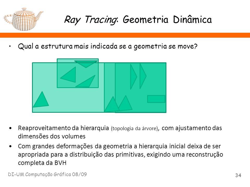 Ray Tracing: Geometria Dinâmica Qual a estrutura mais indicada se a geometria se move? DI-UM Computação Gráfica 08/09 34 Reaproveitamento da hierarqui