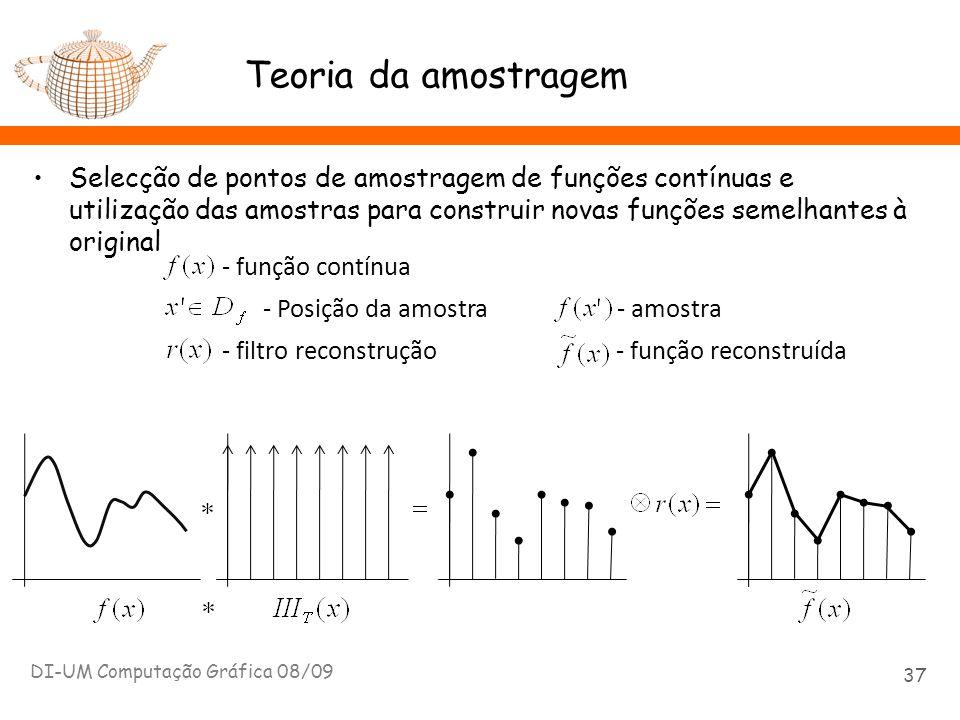 Teoria da amostragem Selecção de pontos de amostragem de funções contínuas e utilização das amostras para construir novas funções semelhantes à origin