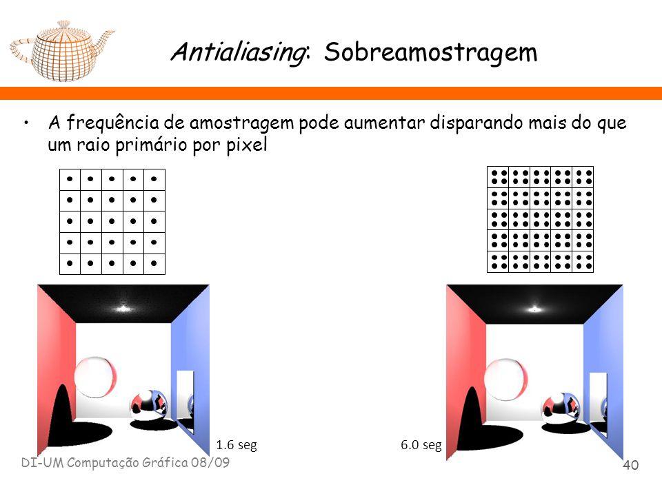 Antialiasing: Sobreamostragem A frequência de amostragem pode aumentar disparando mais do que um raio primário por pixel DI-UM Computação Gráfica 08/0