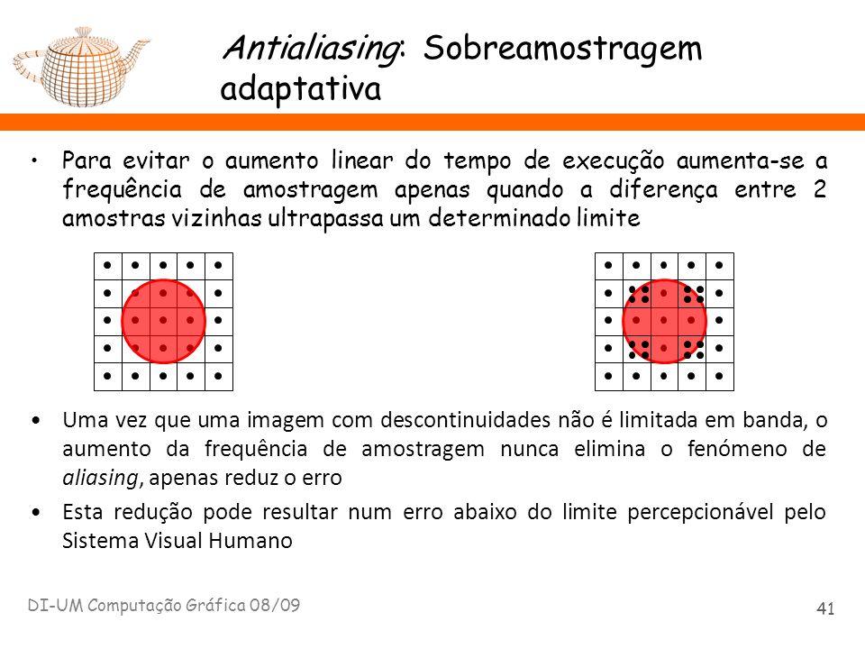 Antialiasing: Sobreamostragem adaptativa Para evitar o aumento linear do tempo de execução aumenta-se a frequência de amostragem apenas quando a difer