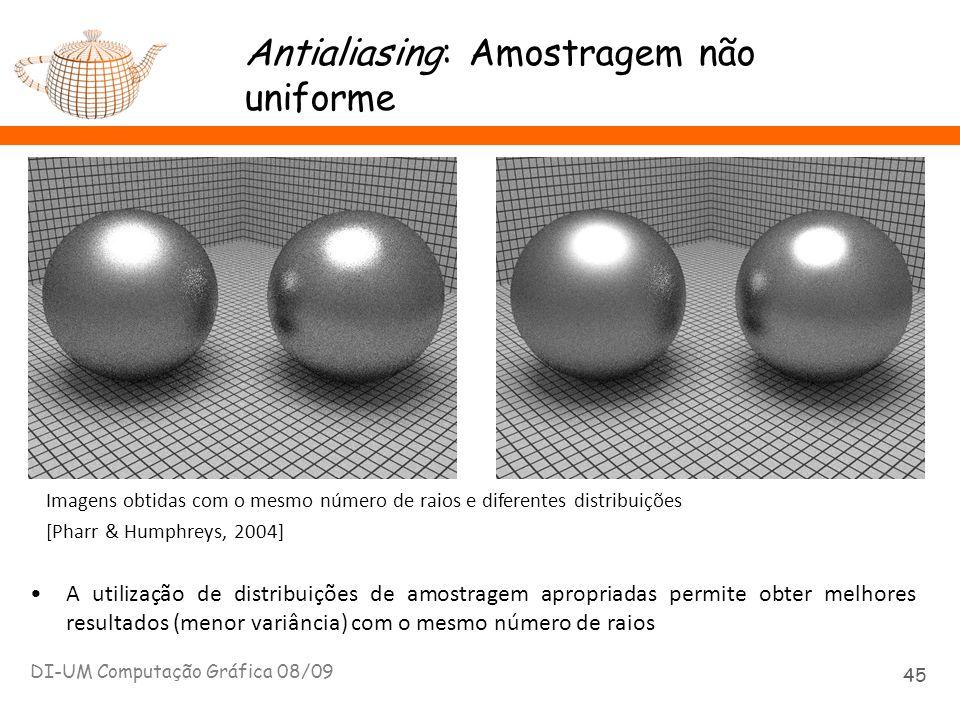 Antialiasing: Amostragem não uniforme DI-UM Computação Gráfica 08/09 45 A utilização de distribuições de amostragem apropriadas permite obter melhores