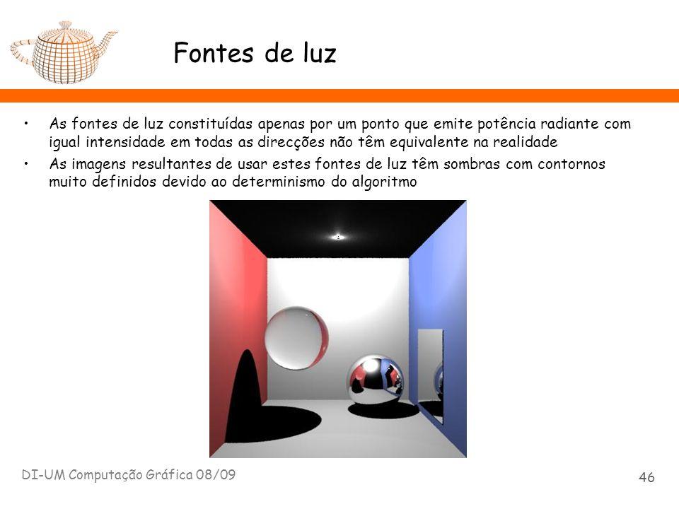 Fontes de luz As fontes de luz constituídas apenas por um ponto que emite potência radiante com igual intensidade em todas as direcções não têm equiva