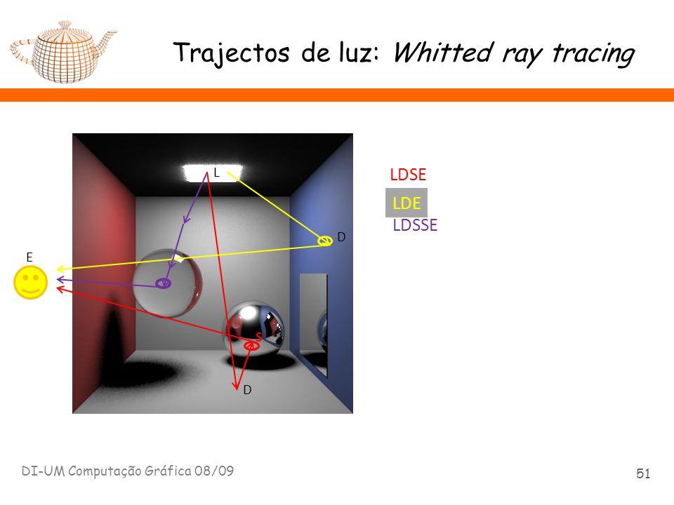 Trajectos de luz: Whitted ray tracing DI-UM Computação Gráfica 08/09 51 E L D S LDSE D LDE LDSSE