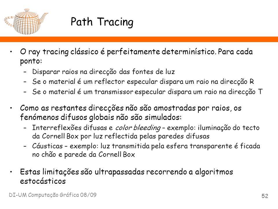 Path Tracing O ray tracing clássico é perfeitamente determinístico. Para cada ponto: –Disparar raios na direcção das fontes de luz –Se o material é um