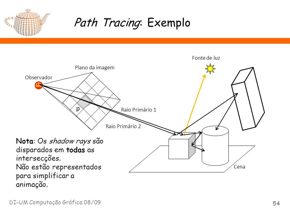 Path Tracing: Exemplo DI-UM Computação Gráfica 08/09 54 Plano da imagem p Observador x Cena Fonte de luz Raio Primário 1 Nota: Os shadow rays são disp