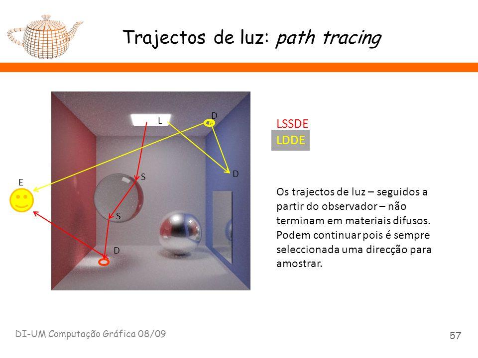 Trajectos de luz: path tracing DI-UM Computação Gráfica 08/09 57 E L S S D LSSDE D D LDDE Os trajectos de luz – seguidos a partir do observador – não