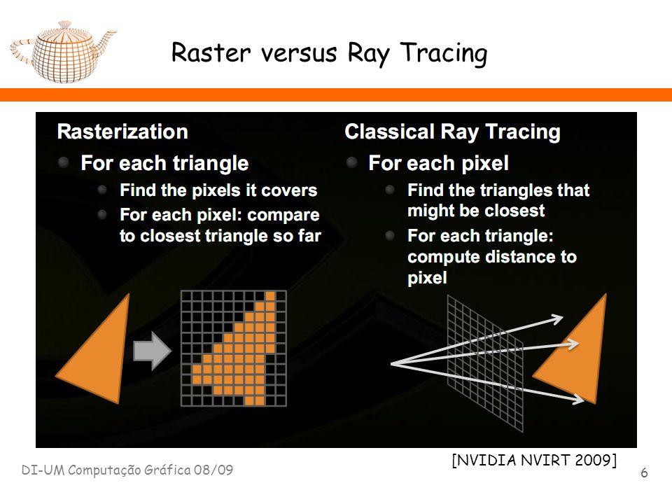 Trajectos de luz: path tracing DI-UM Computação Gráfica 08/09 57 E L S S D LSSDE D D LDDE Os trajectos de luz – seguidos a partir do observador – não terminam em materiais difusos.