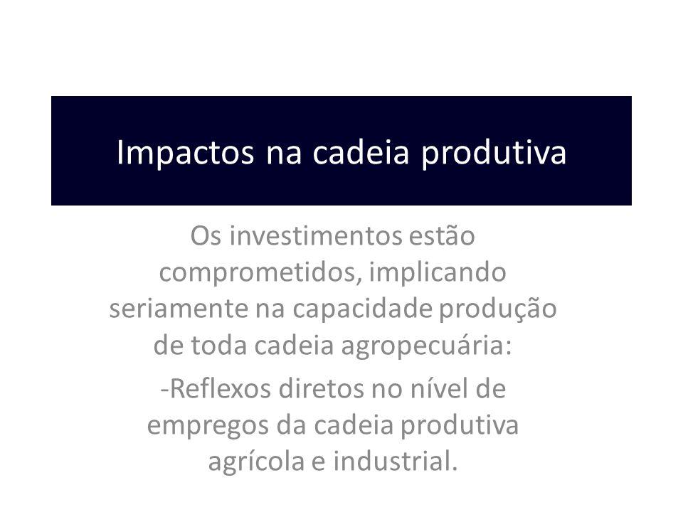 Impactos na cadeia produtiva Os investimentos estão comprometidos, implicando seriamente na capacidade produção de toda cadeia agropecuária: -Reflexos