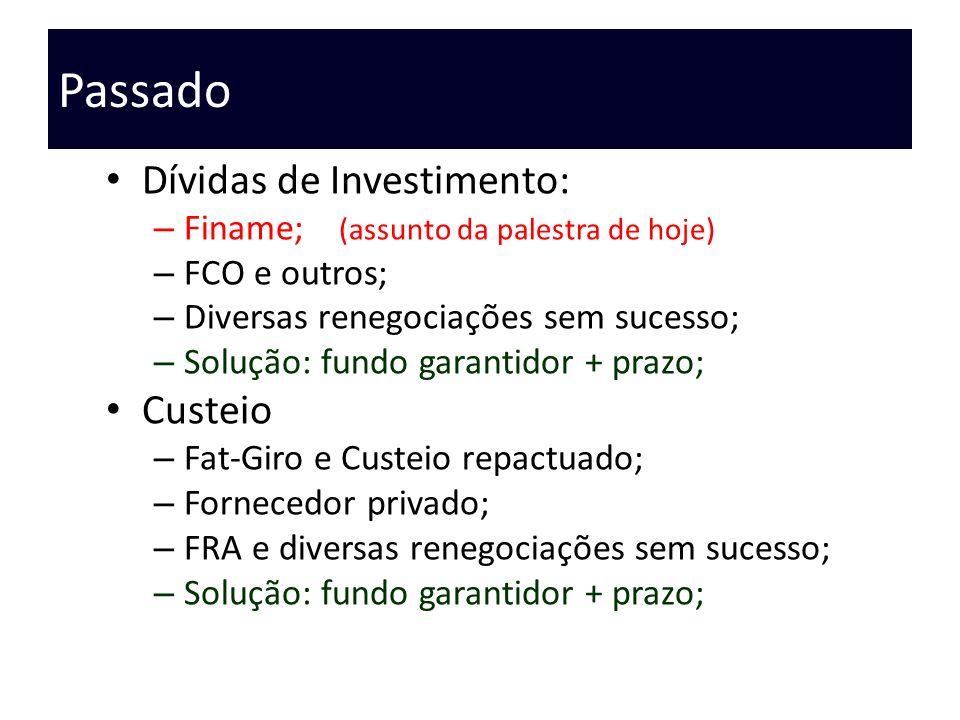 Passado Dívidas de Investimento: – Finame; (assunto da palestra de hoje) – FCO e outros; – Diversas renegociações sem sucesso; – Solução: fundo garant