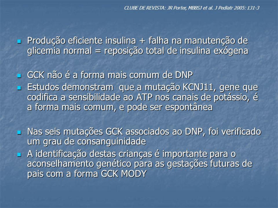 Produção eficiente insulina + falha na manutenção de glicemia normal = reposição total de insulina exógena Produção eficiente insulina + falha na manu