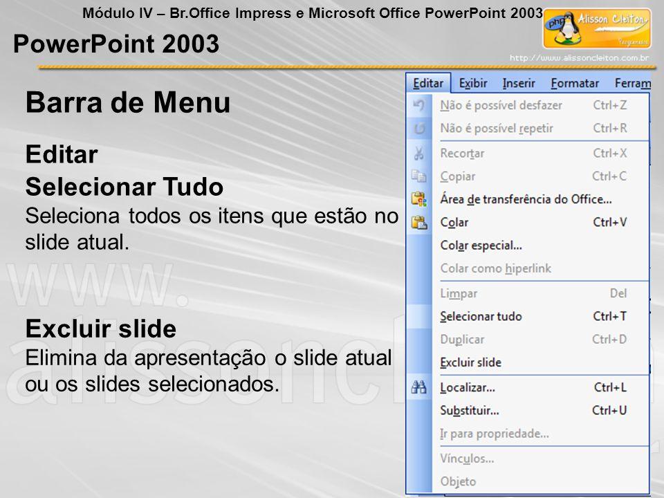 PowerPoint 2003 Módulo IV – Br.Office Impress e Microsoft Office PowerPoint 2003 Selecionar Tudo Seleciona todos os itens que estão no slide atual. Ed