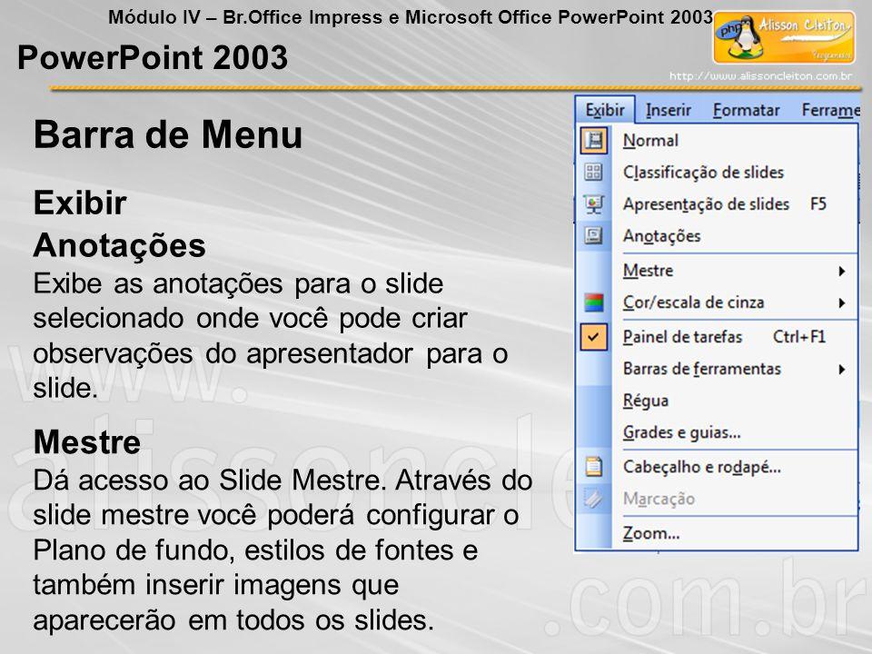 PowerPoint 2003 Módulo IV – Br.Office Impress e Microsoft Office PowerPoint 2003 Anotações Exibe as anotações para o slide selecionado onde você pode