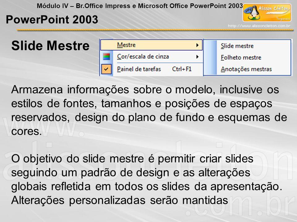 PowerPoint 2003 Módulo IV – Br.Office Impress e Microsoft Office PowerPoint 2003 Armazena informações sobre o modelo, inclusive os estilos de fontes,