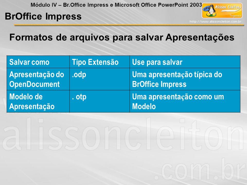 Formatos de arquivos para salvar Apresentações BrOffice Impress Módulo IV – Br.Office Impress e Microsoft Office PowerPoint 2003 Salvar comoTipo Exten