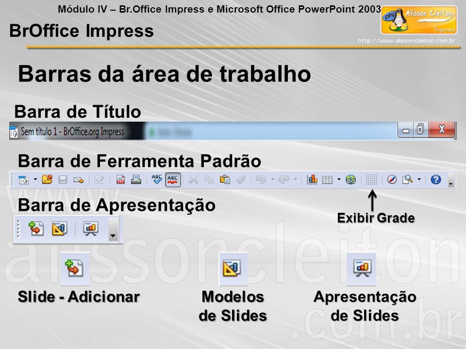 Barras da área de trabalho BrOffice Impress Módulo IV – Br.Office Impress e Microsoft Office PowerPoint 2003 Barra de Título Barra de Ferramenta Padrã