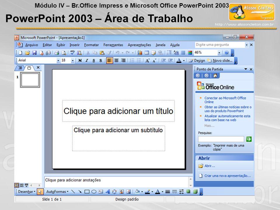 PowerPoint 2003 Módulo IV – Br.Office Impress e Microsoft Office PowerPoint 2003 Formatar Barra de Menu Plano de Fundo Permite selecionar o plano de fundo, e oferece alguns recursos diferenciados na opção mais cores e efeitos de preenchimento.