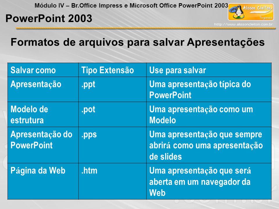 Formatos de arquivos para salvar Apresentações PowerPoint 2003 Módulo IV – Br.Office Impress e Microsoft Office PowerPoint 2003 Salvar comoTipo Extens