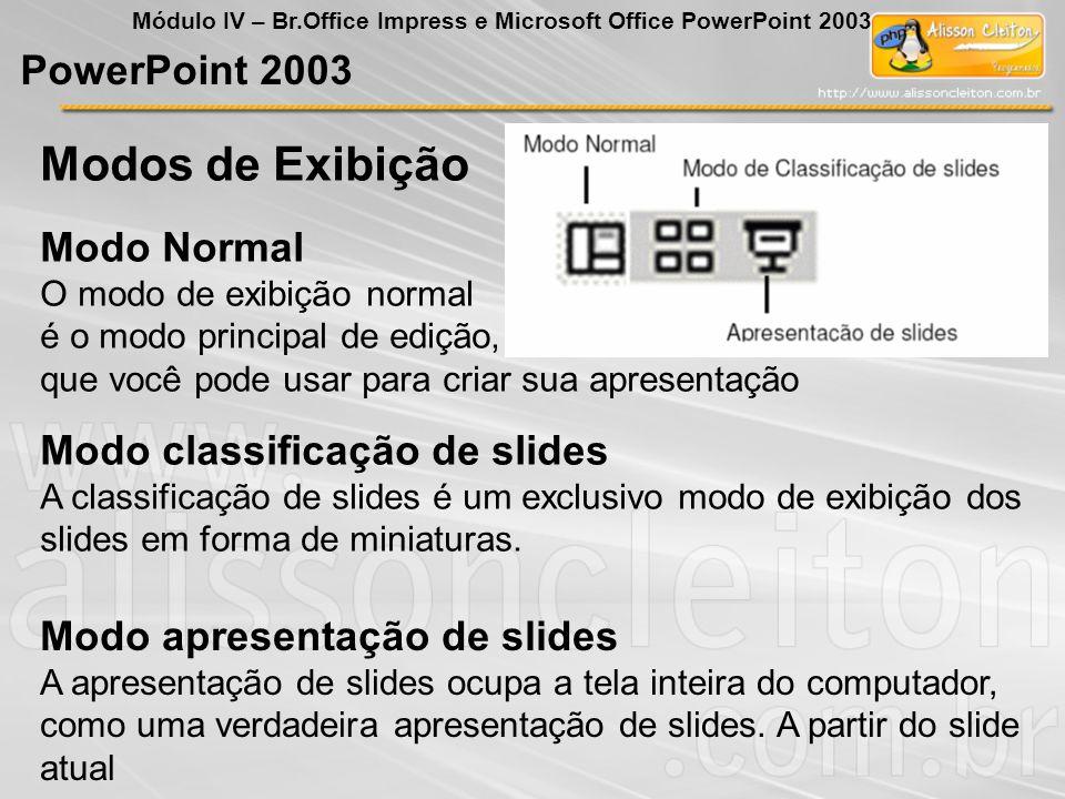 Modos de Exibição PowerPoint 2003 Módulo IV – Br.Office Impress e Microsoft Office PowerPoint 2003 Modo Normal O modo de exibição normal é o modo prin