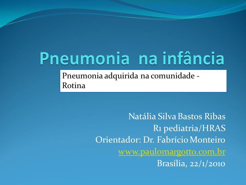 Natália Silva Bastos Ribas R1 pediatria/HRAS Orientador: Dr. Fabrício Monteiro www.paulomargotto.com.br Brasília, 22/1/2010 Pneumonia adquirida na com