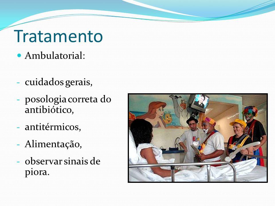 Tratamento Ambulatorial: - cuidados gerais, - posologia correta do antibiótico, - antitérmicos, - Alimentação, - observar sinais de piora.