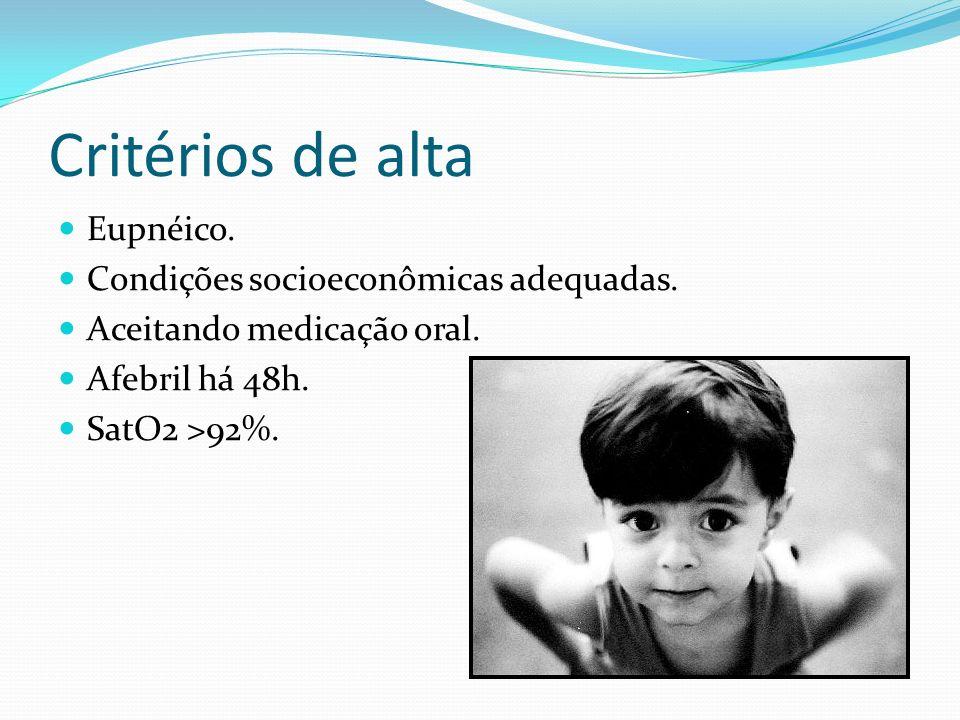 Critérios de alta Eupnéico. Condições socioeconômicas adequadas. Aceitando medicação oral. Afebril há 48h. SatO2 >92%.