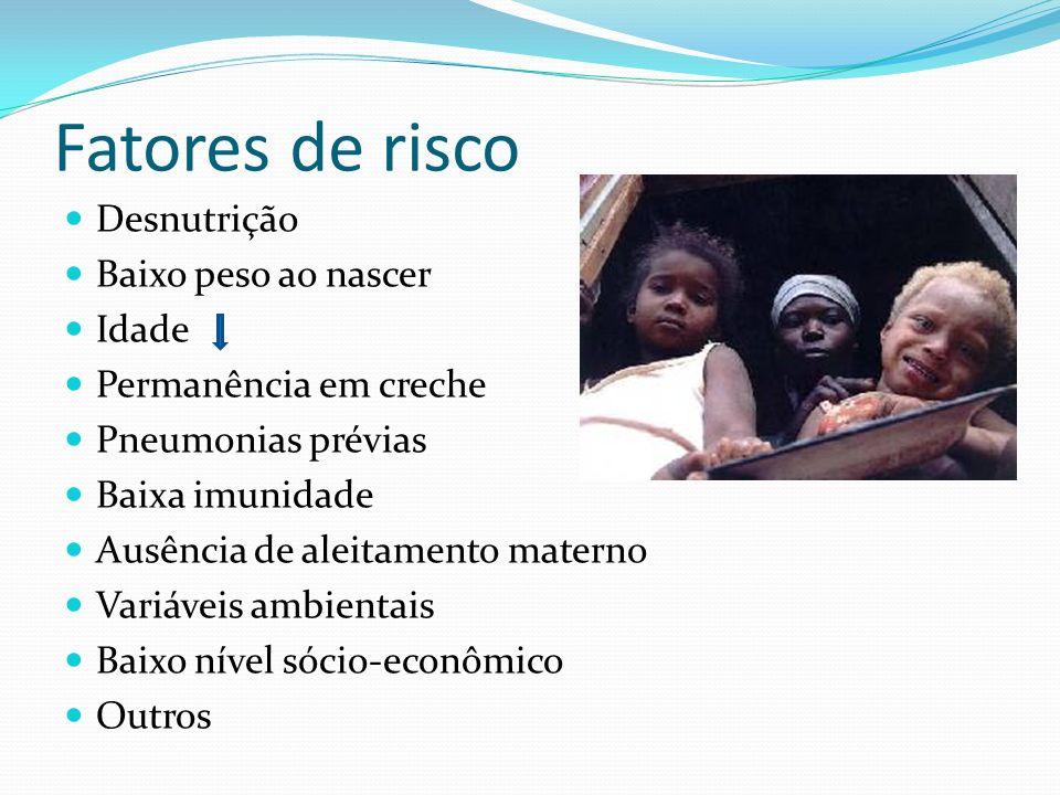 Fatores de risco Desnutrição Baixo peso ao nascer Idade Permanência em creche Pneumonias prévias Baixa imunidade Ausência de aleitamento materno Variá