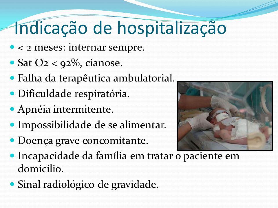 Indicação de hospitalização < 2 meses: internar sempre. Sat O2 < 92%, cianose. Falha da terapêutica ambulatorial. Dificuldade respiratória. Apnéia int