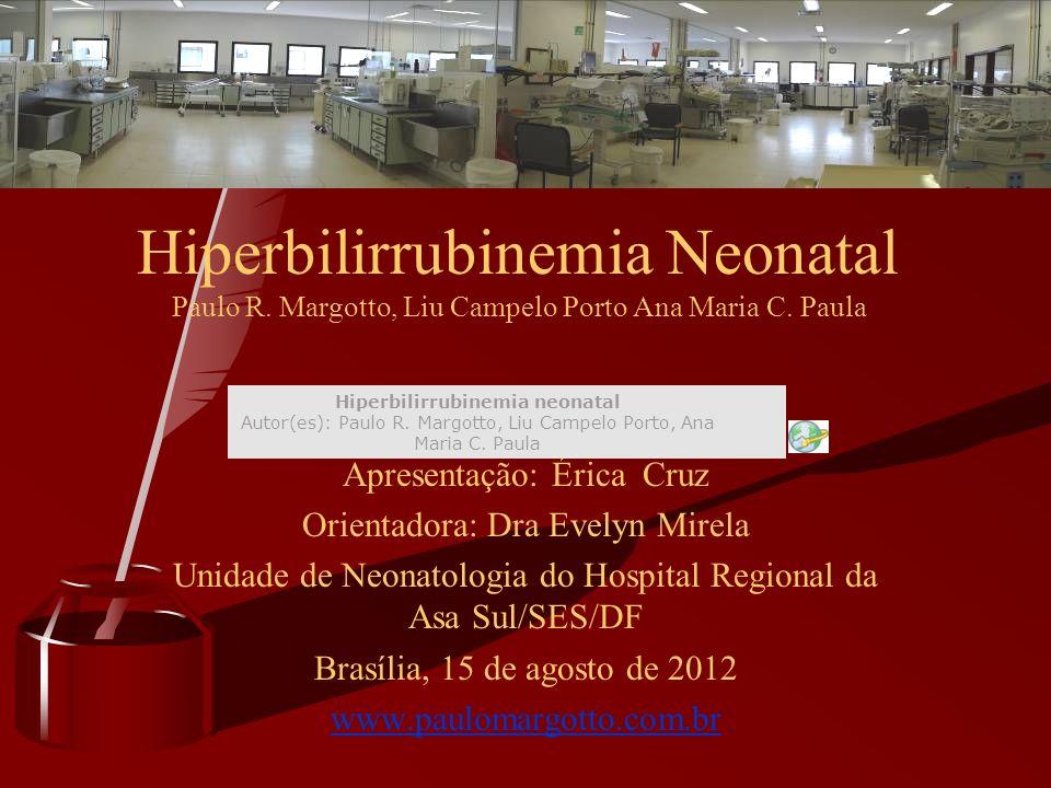 Apresentação: Érica Cruz Orientadora: Dra Evelyn Mirela Unidade de Neonatologia do Hospital Regional da Asa Sul/SES/DF Brasília, 15 de agosto de 2012