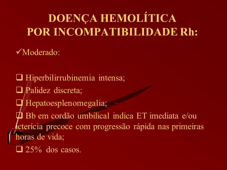 DOENÇA HEMOLÍTICA POR INCOMPATIBILIDADE Rh: Moderado: Hiperbilirrubinemia intensa; Palidez discreta; Hepatoesplenomegalia; Bb em cordão umbilical indi