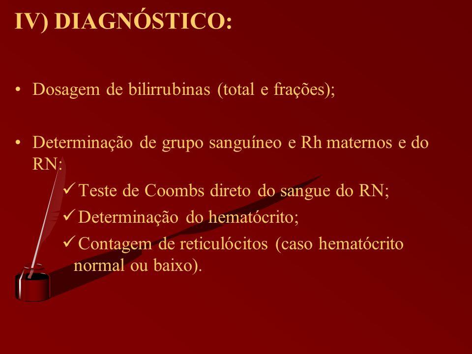 IV) DIAGNÓSTICO: Dosagem de bilirrubinas (total e frações); Determinação de grupo sanguíneo e Rh maternos e do RN: Teste de Coombs direto do sangue do