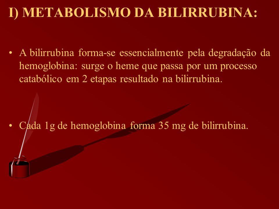 I) METABOLISMO DA BILIRRUBINA: A bilirrubina forma-se essencialmente pela degradação da hemoglobina: surge o heme que passa por um processo catabólico