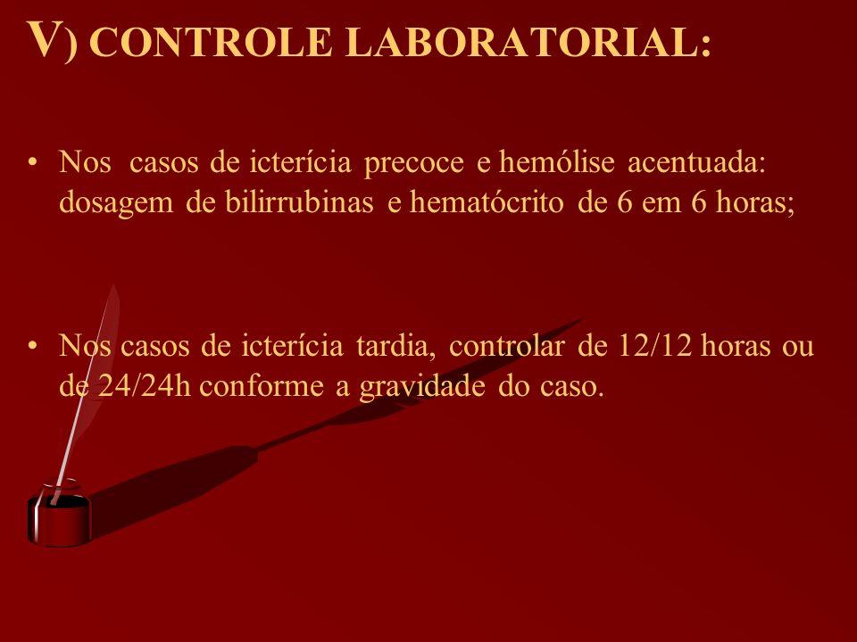 V ) CONTROLE LABORATORIAL: Nos casos de icterícia precoce e hemólise acentuada: dosagem de bilirrubinas e hematócrito de 6 em 6 horas; Nos casos de ic