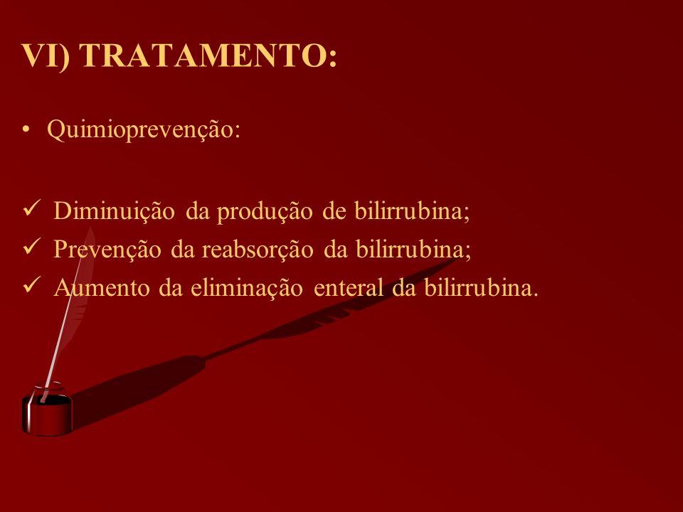 VI) TRATAMENTO: Quimioprevenção: Diminuição da produção de bilirrubina; Prevenção da reabsorção da bilirrubina; Aumento da eliminação enteral da bilir