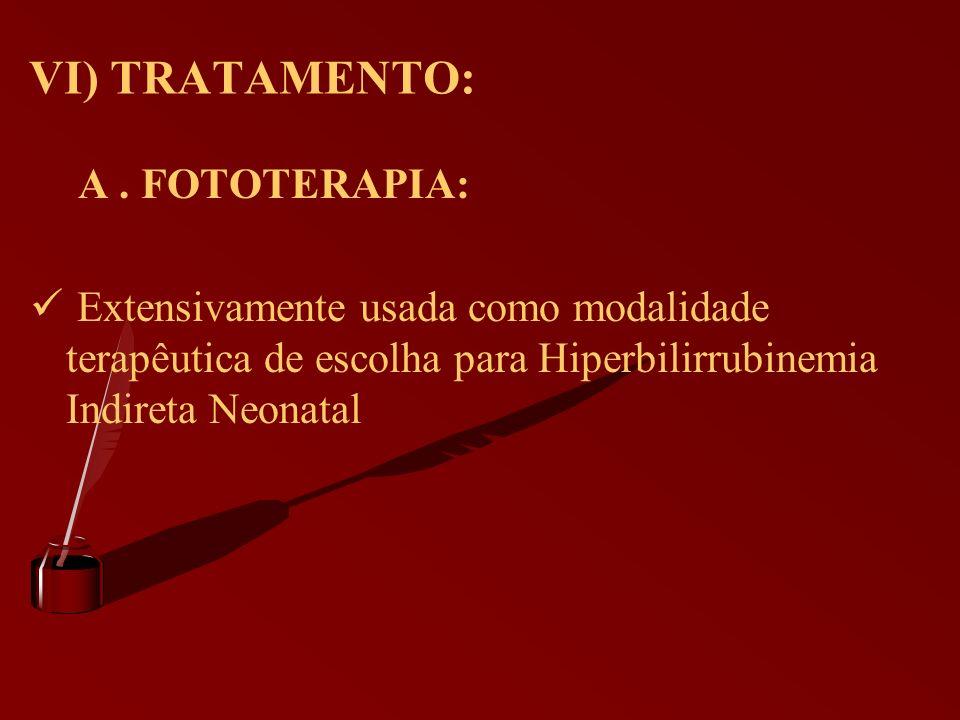 VI) TRATAMENTO: A. FOTOTERAPIA: Extensivamente usada como modalidade terapêutica de escolha para Hiperbilirrubinemia Indireta Neonatal