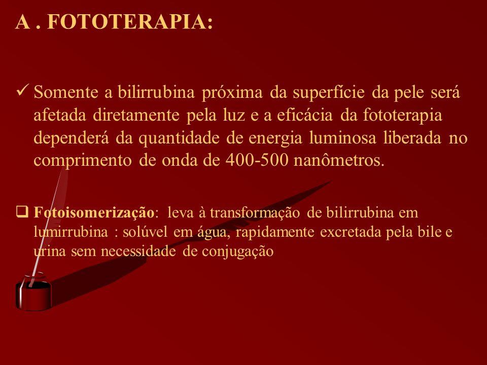 A. FOTOTERAPIA: Somente a bilirrubina próxima da superfície da pele será afetada diretamente pela luz e a eficácia da fototerapia dependerá da quantid